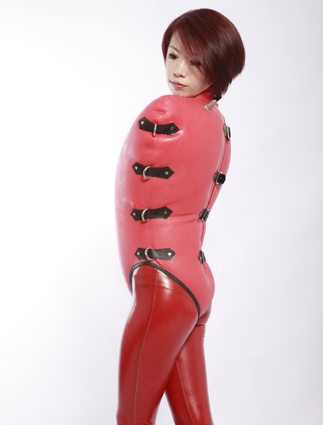 Milanoo Halloween Trendy Red Sleeveless Stand Collar Air Inflation Latex Clothes Halloween