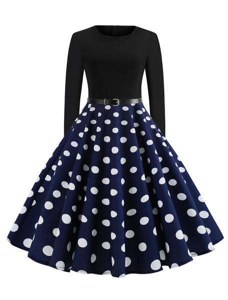 Milanoo Red Polka Dot Vintage Dress 1950s Long Sleeves Round Neck rockabilly dresses Swing Retro Dress