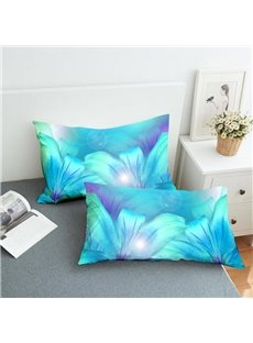 Light Blue Lilies Reactive Printing 2-Piece Polyester Pillowcase