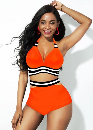 High Waisted Swimsuits Halter Neck High Waist Orange Bikini Set - 16