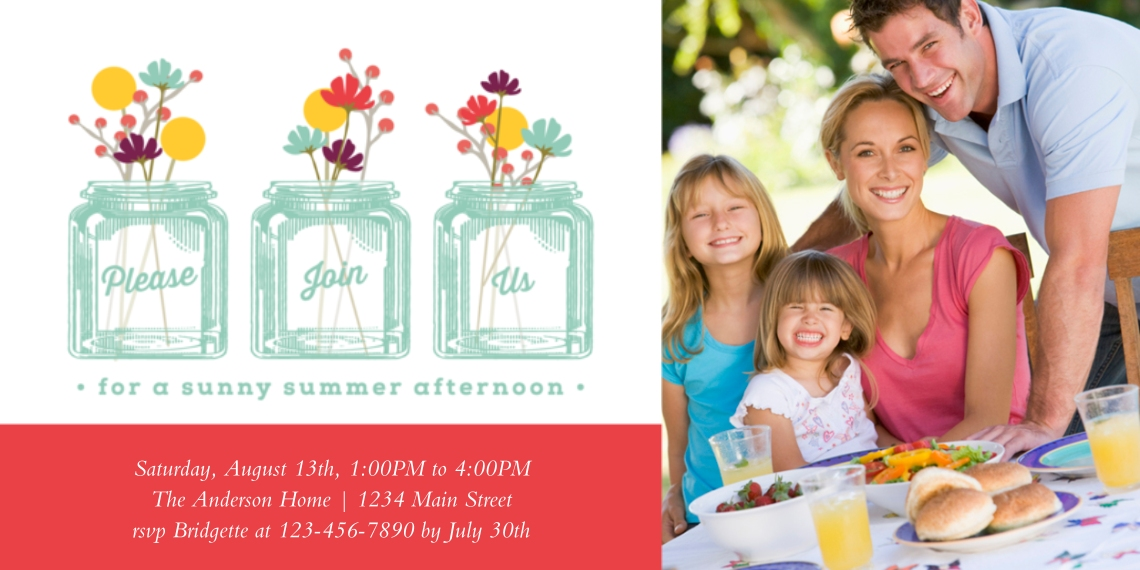 Party Invitations 4x8 Flat Card Set, 85lb, Card & Stationery -Sunny Summer Afternoon