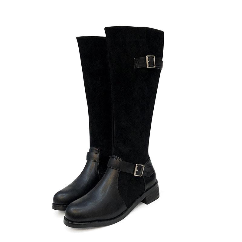 Ericdress Block Heel Side Zipper Round Toe Flat Boots