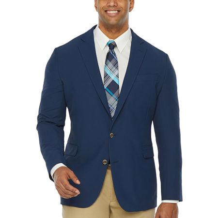 Stafford Performance Travel Mens Stretch Regular Fit Sport Coat, 44 Regular, Blue