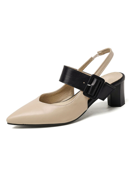 Milanoo Women Block Heels Pointed Toe Buckle Detail Slingbacks Slip On Pumps