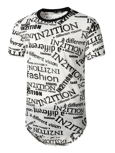 Milanoo White T Shirts Jewel Neck Short Sleeves Letters Print Tee Tops
