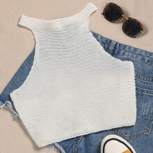 Buttoned Halter Rib Knit Top
