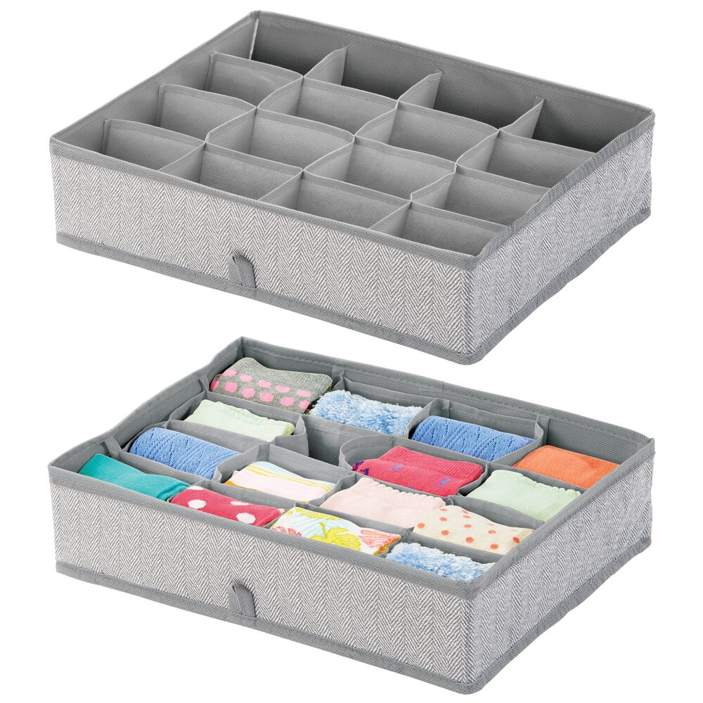16 Compartment Fabric Divided Drawer Organizer in Gray, 13.75