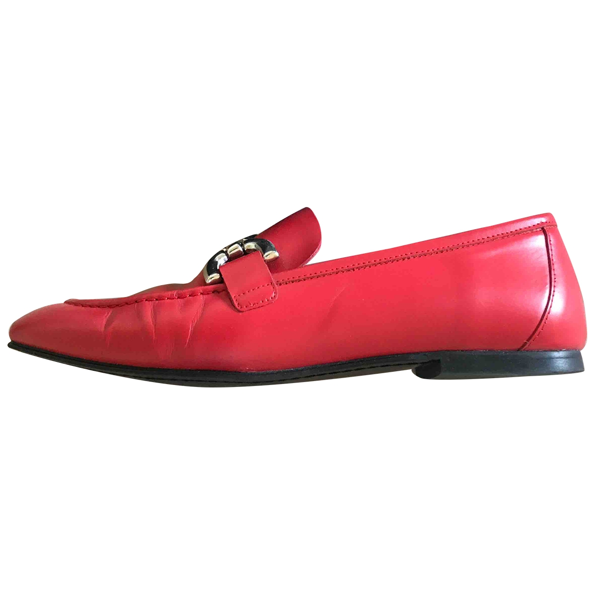 Uterque \N Red Leather Flats for Women 37 EU
