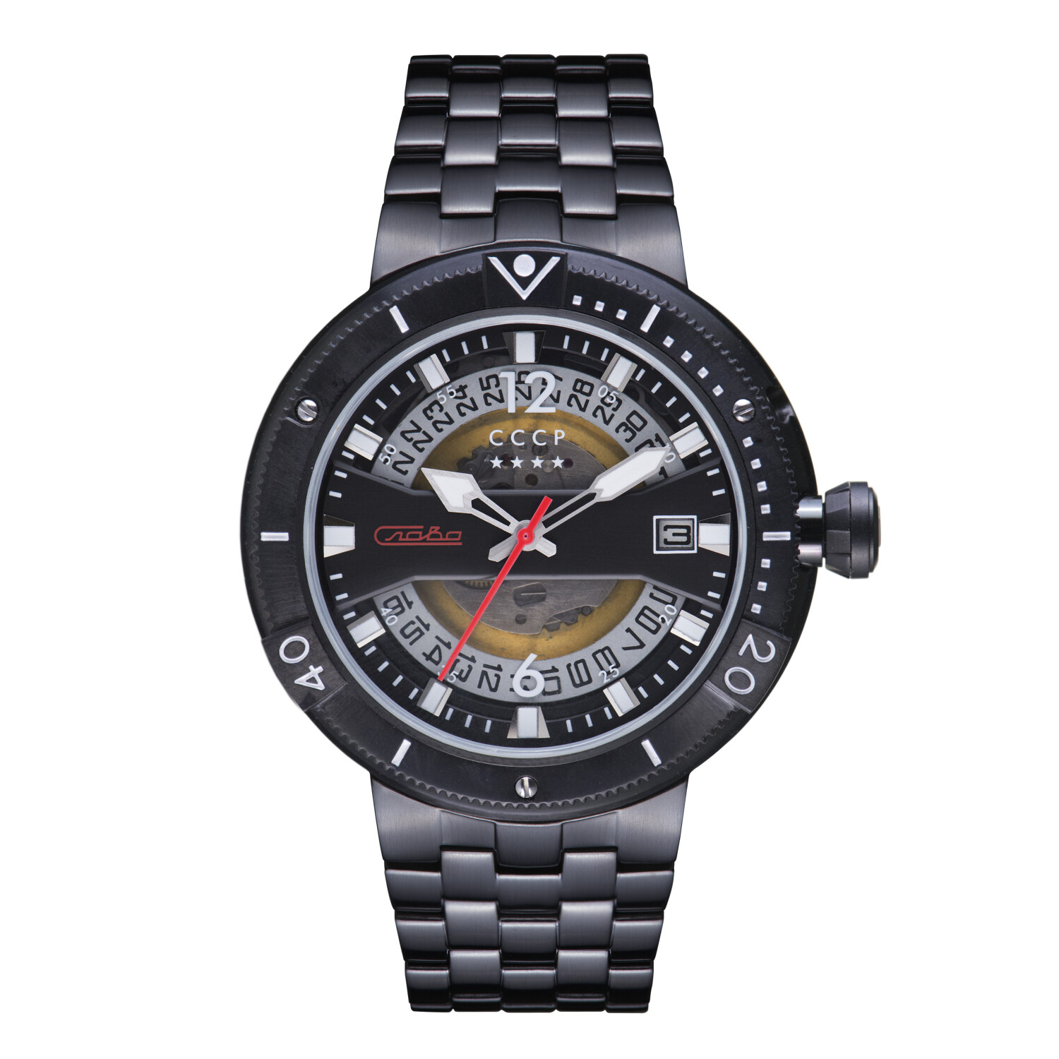 Cccp Men's Kashalot 2 CP-7039-44 Black Stainless-Steel Automatic Self Wind Fashion Watch