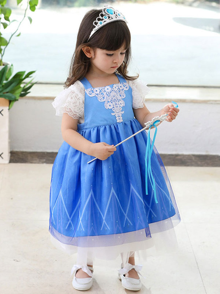 Milanoo Flower Girl Dresses Square Neck Polyester Sleeveless Tea-Length A-Line Lace Formal Kids Pageant Dresses