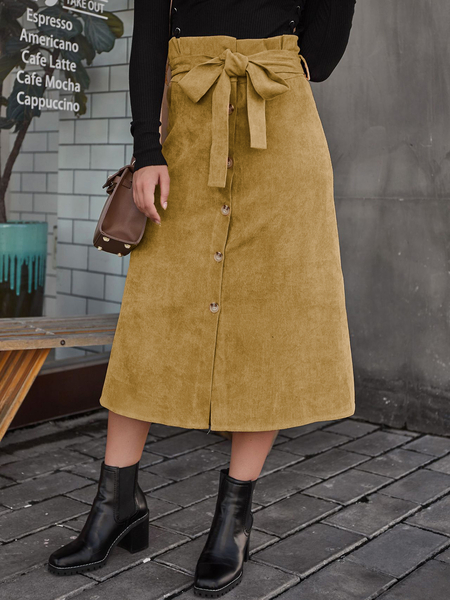 Yoins Brown Belted Front Button Design Corduroy Skirt