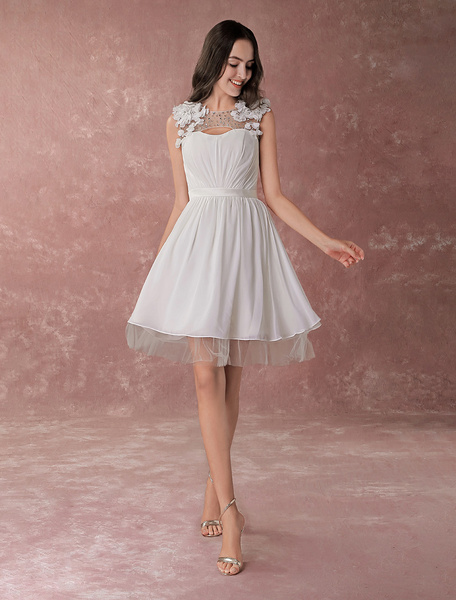 Milanoo Simple Wedding Dresses Ivory A Line Jewel Neck Flower Beading Chiffon Bridal Dress