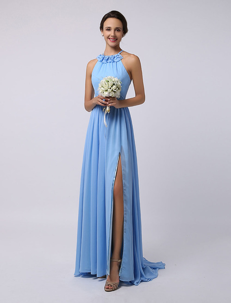 Milanoo Floor-Length High-split Halter A-Line Draped Chiffon Bridesmaid Dress