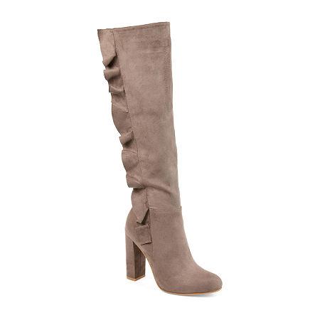 Journee Collection Womens Vivian Block Heel Zip Boots, 5 1/2 Medium, Beige