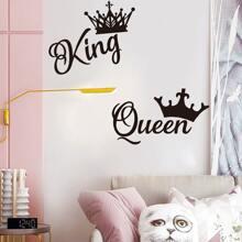 Queen & King Crown Print Wall Sticker