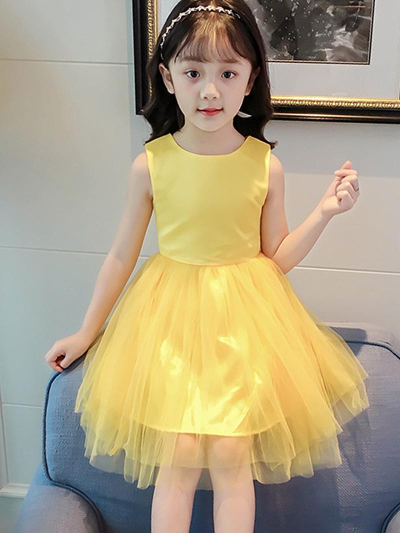 Ericdress Plain Mesh Patchwork Bowknot Girl's Princess Dress