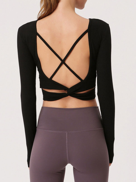 Milanoo Yoga T Shirt Backless Strappy Criss Cross Long Sleeve Workout Tops