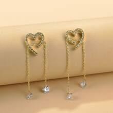 Rhinestone Heart Decor Drop Earrings