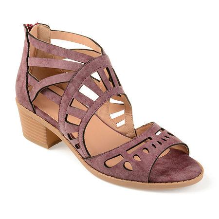 Journee Collection Womens Dexy Pumps Block Heel, 6 1/2 Medium, Purple