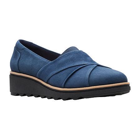 Clarks Womens Sharon Form Slip-On Shoe-Wide Width, 7 Wide, Blue