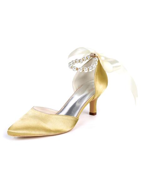 Milanoo Womens Wedding Shoes Satin Pearls Pointed Toe Kitten Heel Bridal Shoes