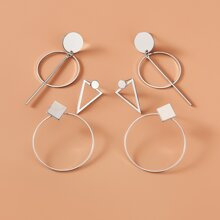 3pairs Geometric Design Earrings