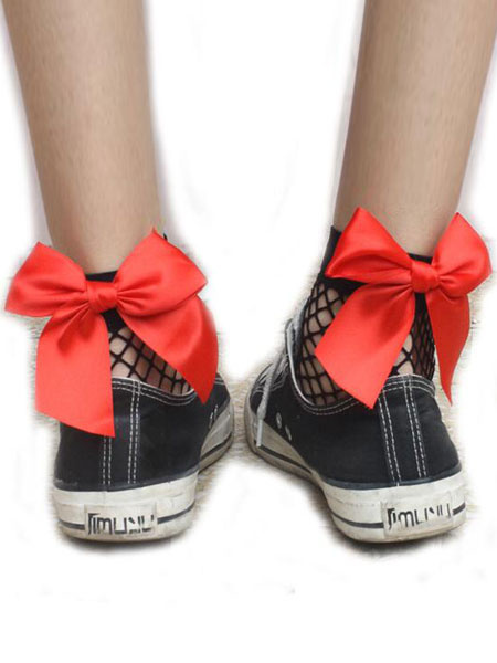 Milanoo Women Black Socks Bows Fishnet Nylon Hosiery