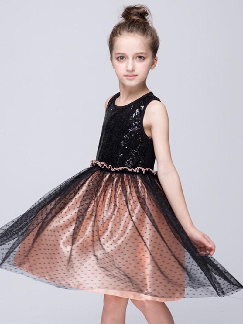 Ericdress Sequins Polka Dots Sleeveless Girls Dress