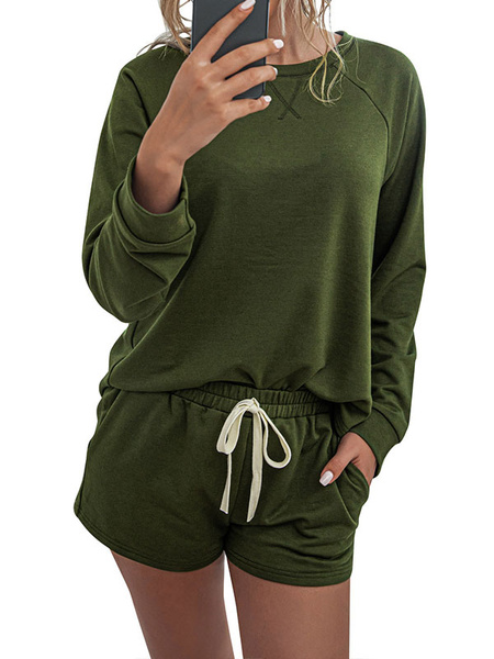 Milanoo Two Piece Sets Hunter Green Polyester Jewel Neck Printed Casual Long Sleeves Top With Drawstring Shorts