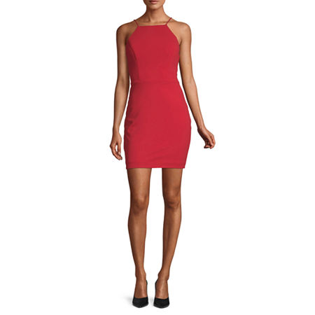 City Triangle-Juniors Sleeveless Cut Outs Bodycon Dress, 3 , Red