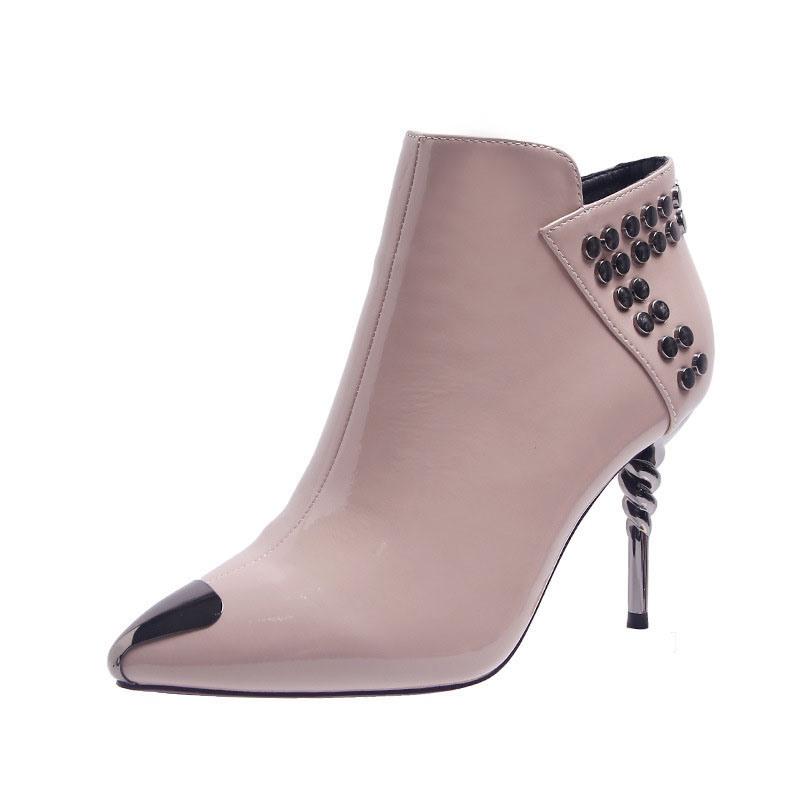 Ericdress Plain Side Zipper Pointed Toe Rivet Women's Boots