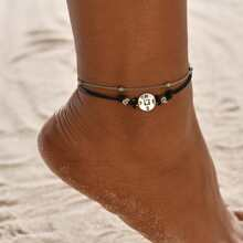 1pc Compass Beaded Layered Anklet