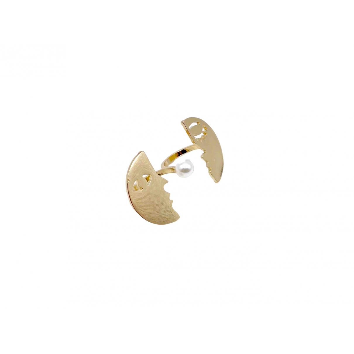 Non Signé / Unsigned Toi & Moi Gold Metal ring for Women 54 EU