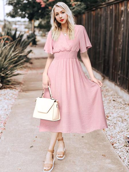 Milanoo Chiffon Maxi Dress Pink V Neck Short Sleeve Women Summer Dress