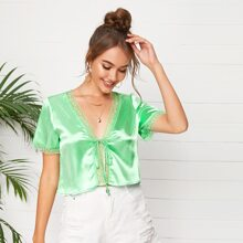 Lace Trim Knot Front Satin Top
