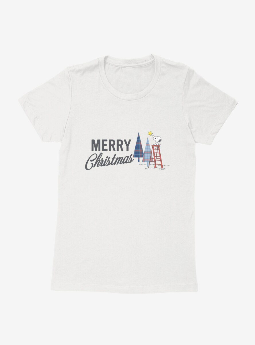 Peanuts Warm Wishes Snoopy Merry Christmas Womens T-Shirt