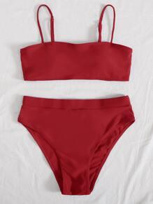 Solid High Waisted Bikini Swimsuit
