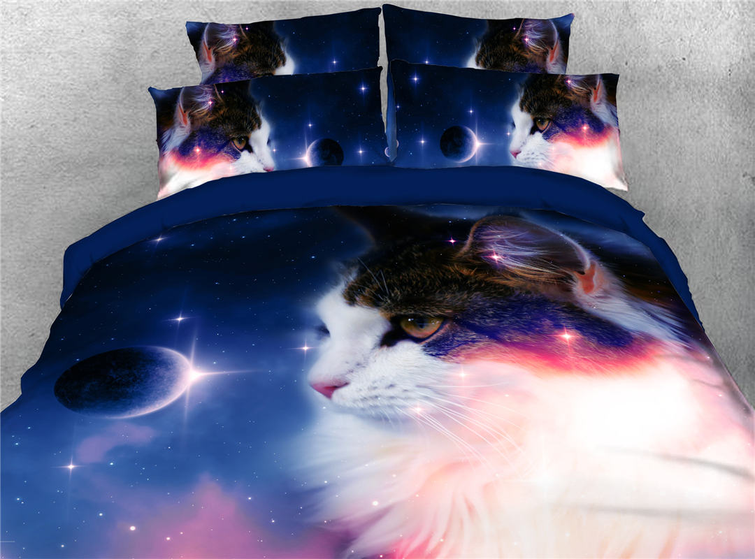 Staring Stars Cat Reactive Printing Polyester 5-Piece Set Including 1 Comforter 1 Duvet Cover 1 Flat Sheet and 2 Pillowcases