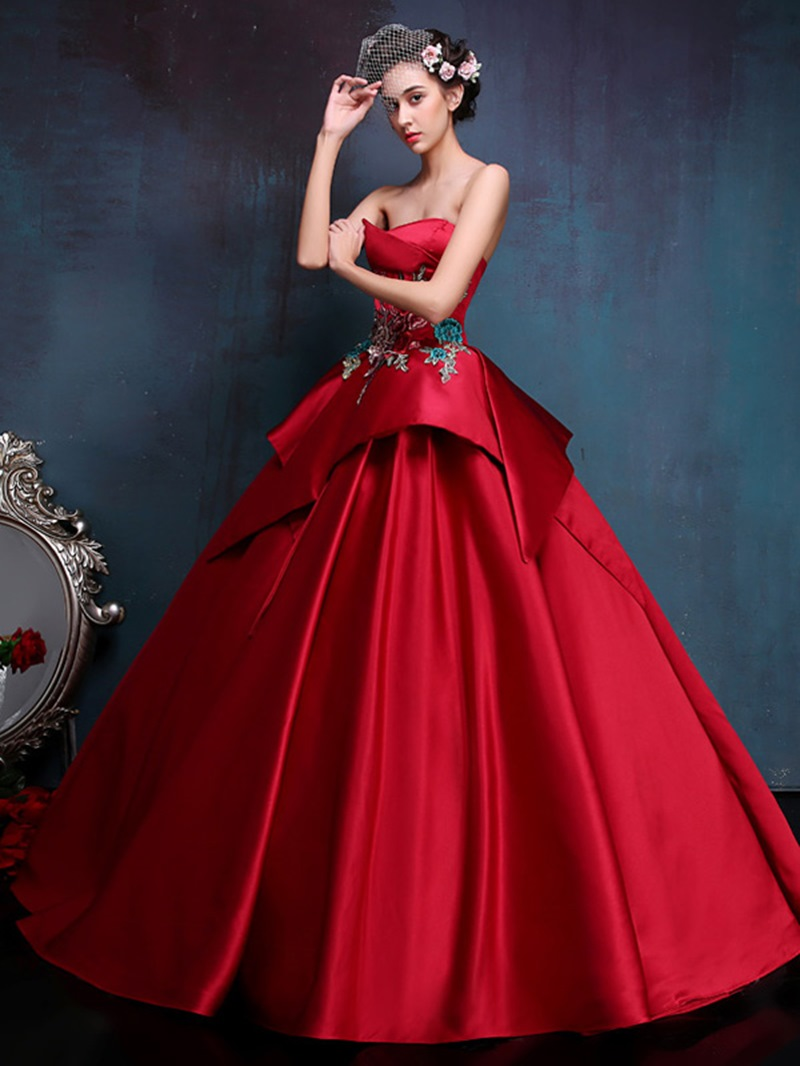 Ericdress Strapless Embroidery Appliques Ball Gown With Lace-Up