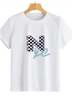 Beddinginn Letter Standard Short Sleeve Round Neck Casual Women's T-Shirt