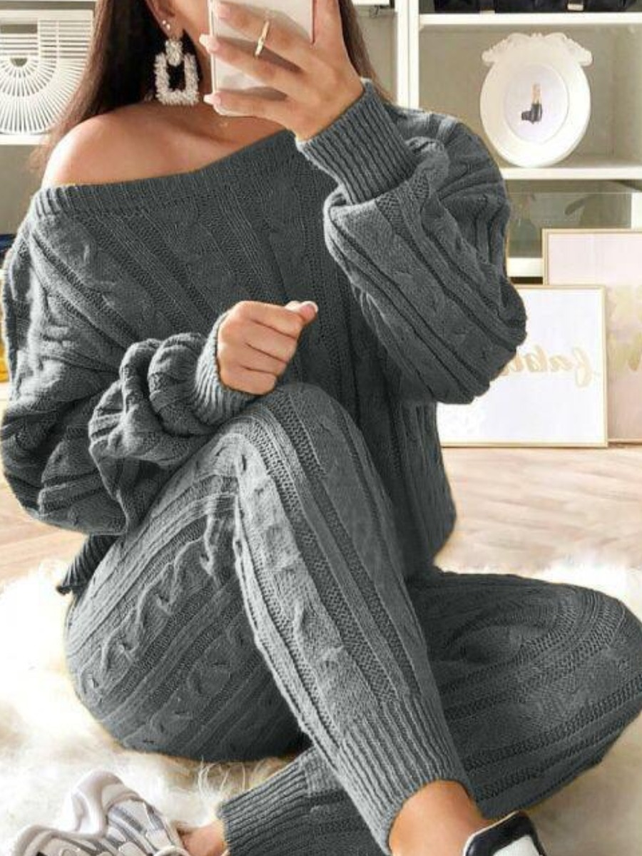 LW Lovely Casual O Neck Striped Grey Plus Size Two-piece Pants Set