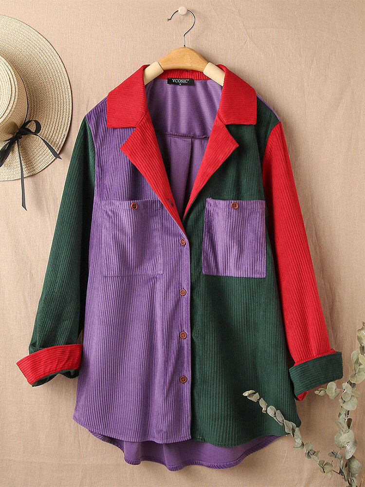 Contrast Color Long Sleeve Turn-down Collar Patchwork Blouse For Women