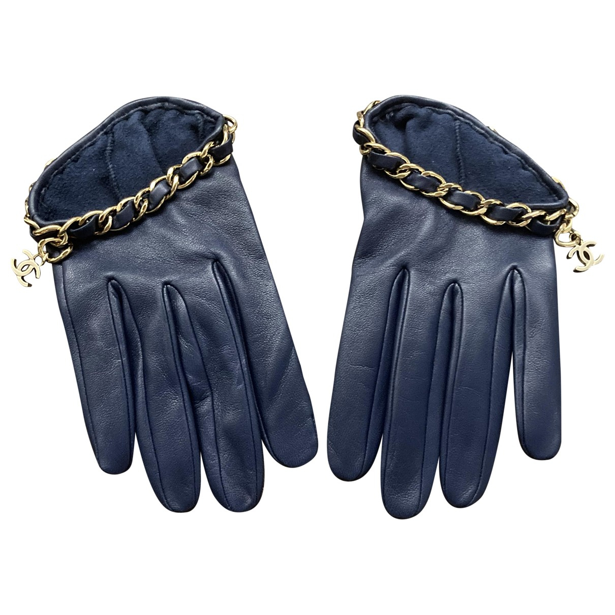 Chanel \N Blue Leather Gloves for Women 7.5 Inches