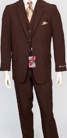 Men's Poly Lapel Brown 3 Piece Single Breasted Matching Vest DressSuit
