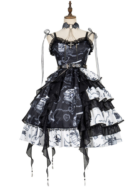 Milanoo Gothic Lolita JSK Dress The Vampire Diaries Lolita Jumper Skirts With Choker