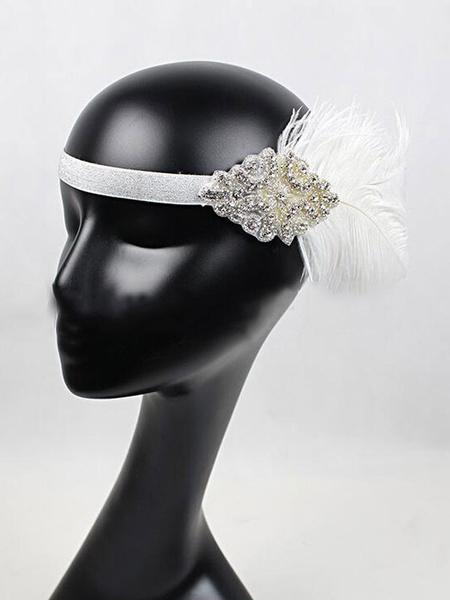 Milanoo Flapper Headband 1920s Costume The Great Gatsby Headpieces Women Feather Black Vintage Costume Accessories Halloween