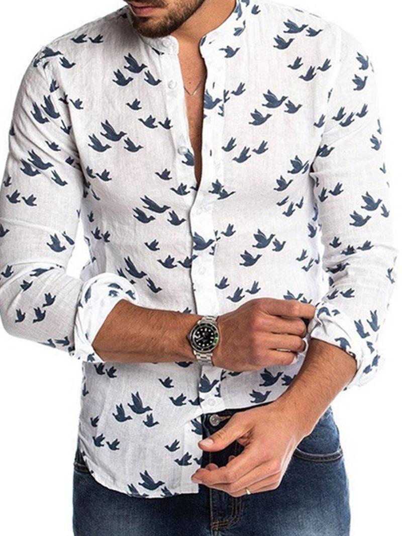 Ericdress Casual Stand Collar Print Spring Loose Shirt