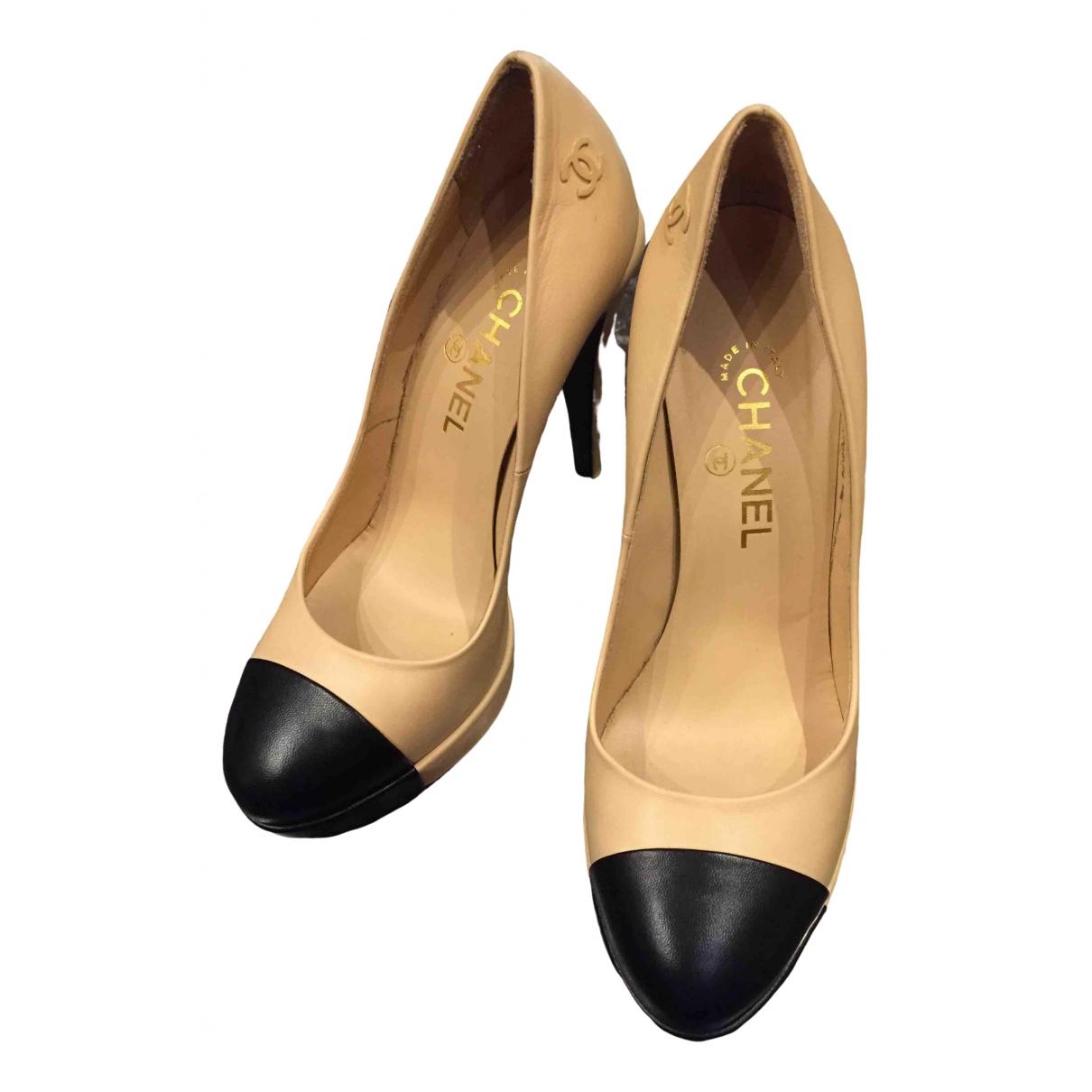Chanel \N Beige Leather Heels for Women 38.5 EU