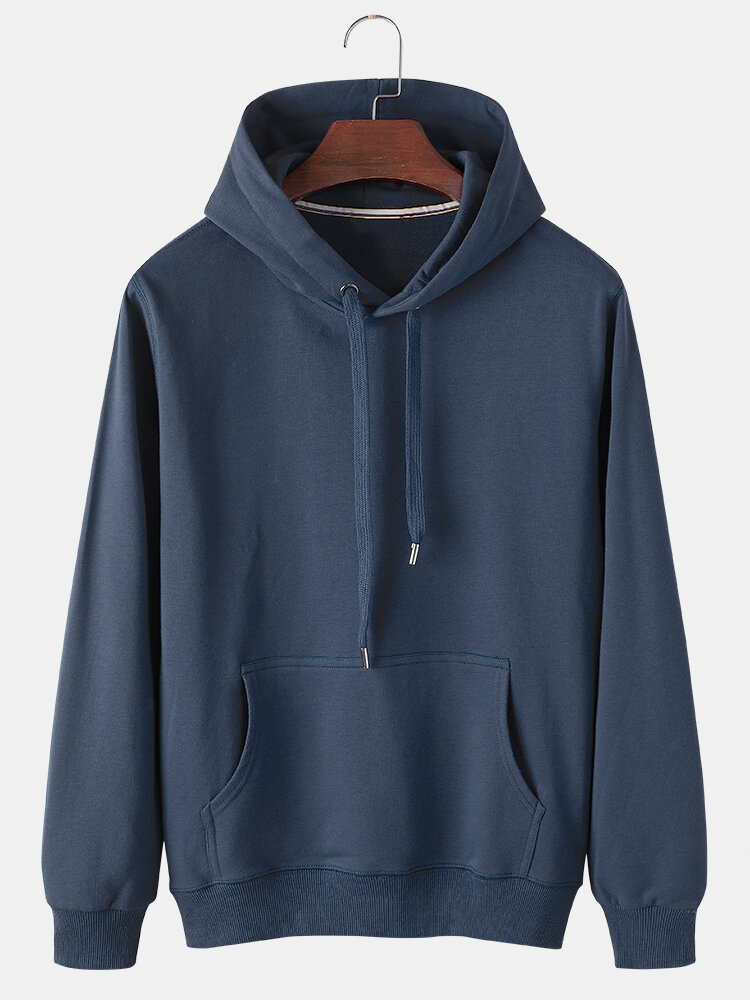 Mens Solid Color Cotton Casual Loose Drawstring Hoodies With Kangaroo Pocket