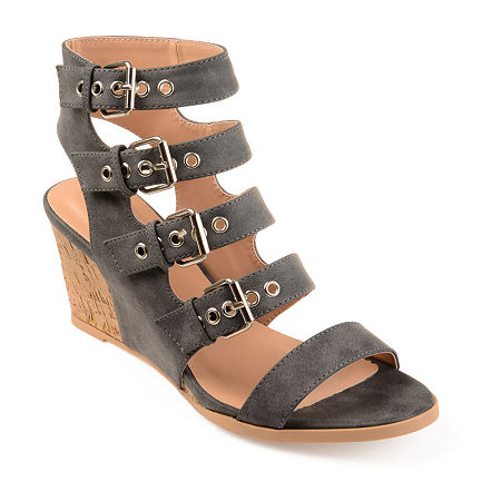 Journee Collection Womens Monika Wedge, 11 Medium, Gray